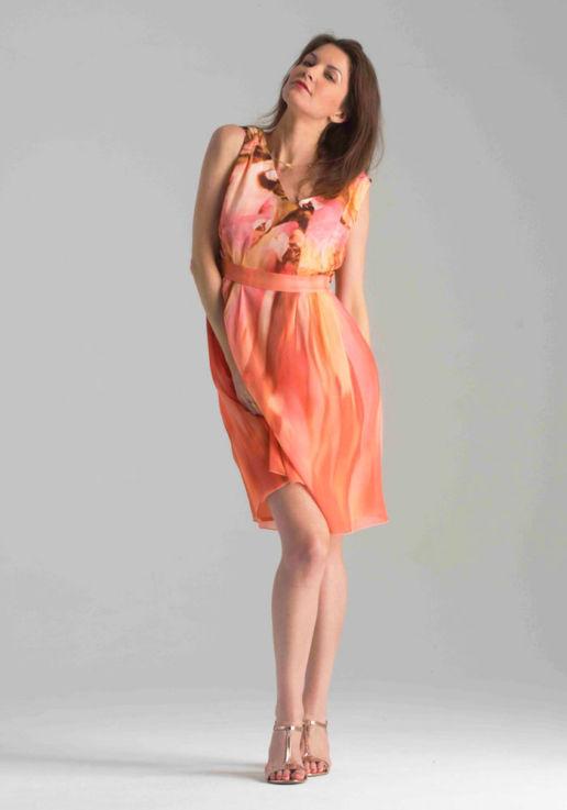 Robe Sans Manches orange Chic Cocktail Soirée Mariage Créateur SOLENE MARTIN