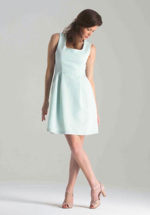 Robe Sans Manches Bleu Mint Chic Cocktail Soirée Mariage Créateur SOLENE MARTIN