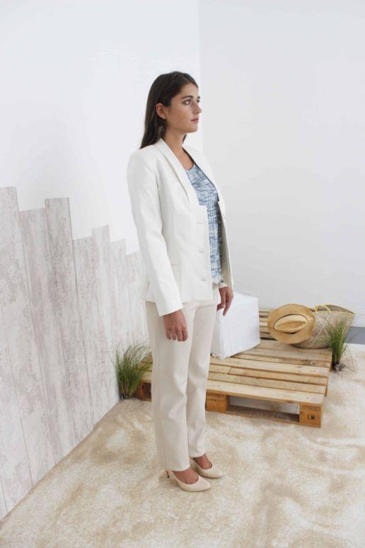 Veste Tailleur Femme blanche Chic Bureau Diner Cérémonie Créateur SOLENE MARTIN