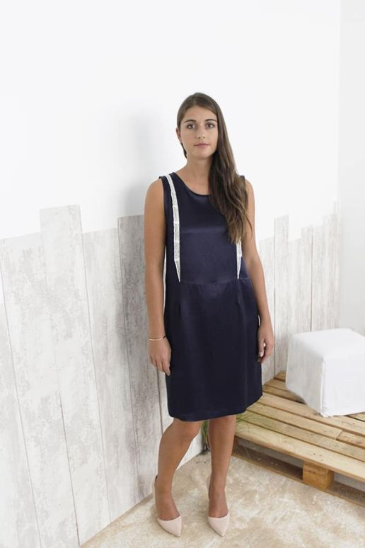 Robe Bleu marine Chic Bureau Diner Cérémonie Créateur SOLENE MARTIN