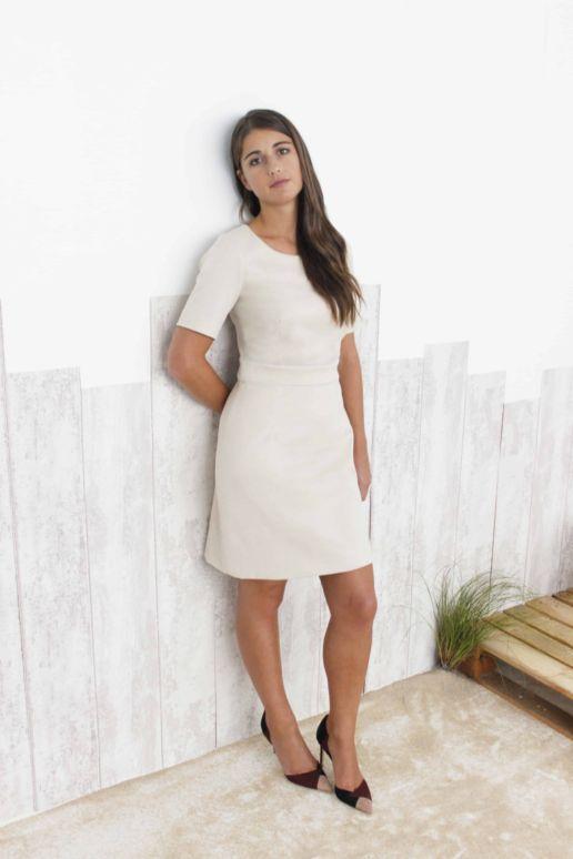 Robe Blanche fleurs Chic Bureau Diner Cérémonie Créateur SOLENE MARTIN