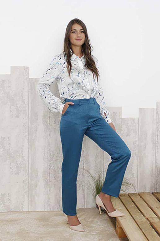 Pantalon Tailleur Femme vert bleu canard Chic Bureau Diner Cérémonie Créateur SOLENE MARTIN