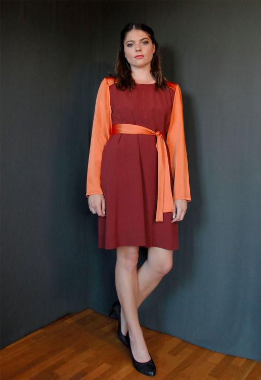 Robe rouge orange bordeaux Chic Cocktail Soirée Mariage Créateur SOLENE MARTIN