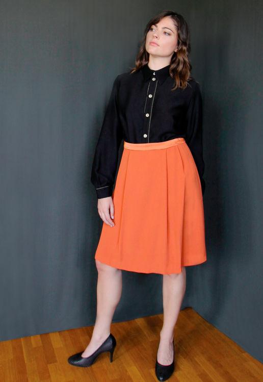 Jupe Orange Chic Bureau Diner Cérémonie Créateur SOLENE MARTIN
