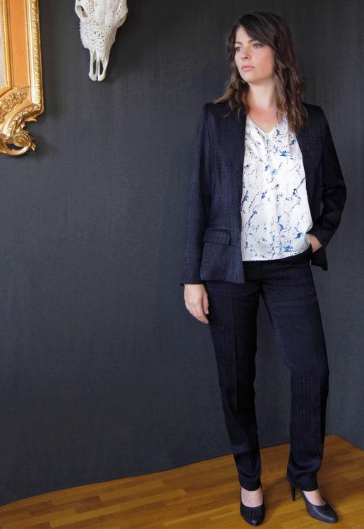 Veste Tailleur Femme Bleu marine Chic Bureau Diner Cérémonie Créateur SOLENE MARTIN