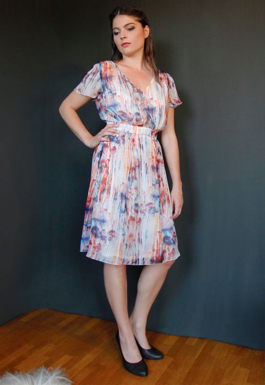 Robe Coloré imprimé fôret Chic Cocktail Soirée Mariage Créateur SOLENE MARTIN