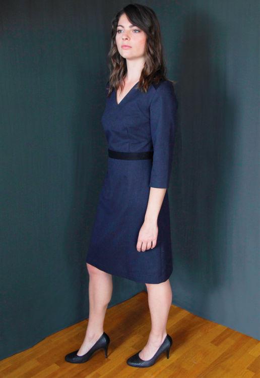 Robe laine bleu Chic Bureau Diner Cérémonie Créateur SOLENE MARTIN