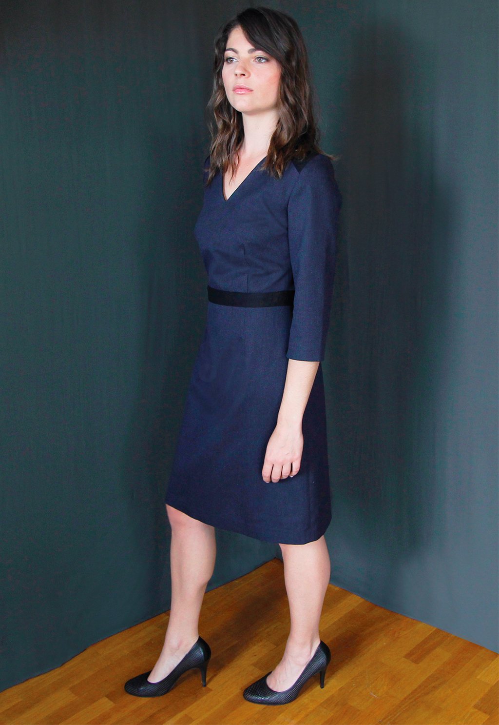 2022d8c677e Robe laine bleu Chic Bureau Diner Cérémonie Créateur SOLENE MARTIN