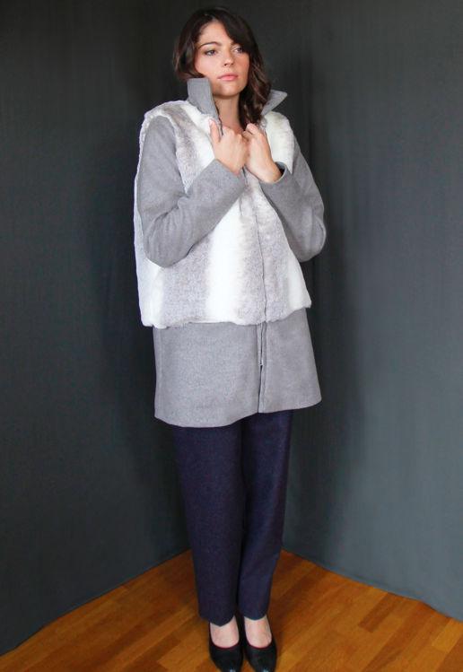 Manteau Femme fausse fourrure lapin Chic Bureau Diner Cérémonie Créateur SOLENE MARTIN