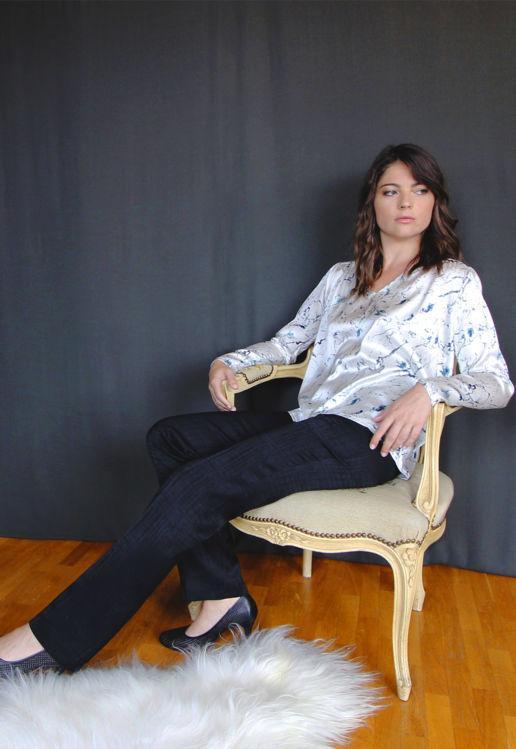 Pantalon Femme Bleu marine Chic Bureau Diner Cérémonie Créateur SOLENE MARTIN