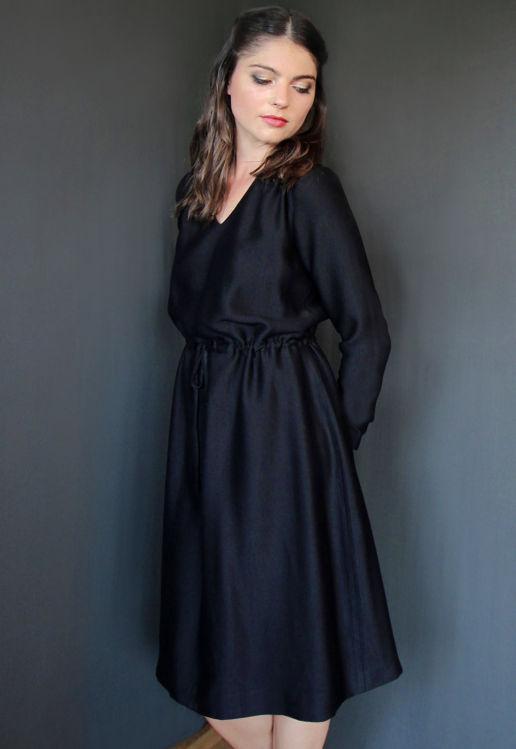 Robe Noire Chic Bureau Diner Cérémonie Créateur SOLENE MARTIN