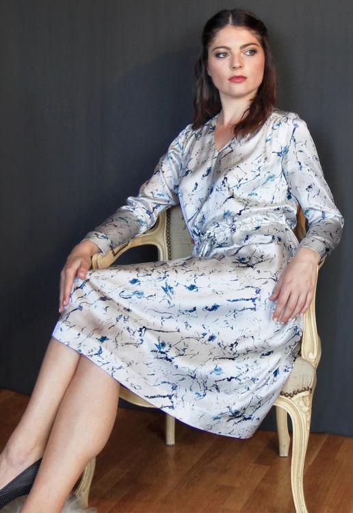 Robe soie blanche imprimée marbre Chic Cocktail Soirée Mariage Créateur SOLENE MARTIN