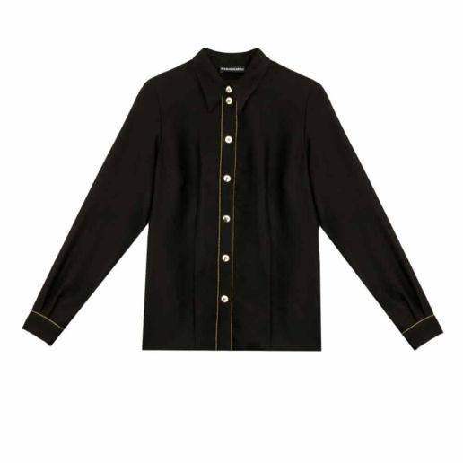 Chemise Femme coton noir Chic Bureau Diner Cérémonie Créateur SOLENE MARTIN