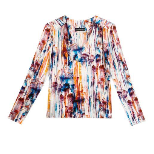 blouse soie imprimée manches longues Chic Bureau Diner Cérémonie Créateur SOLENE MARTIN