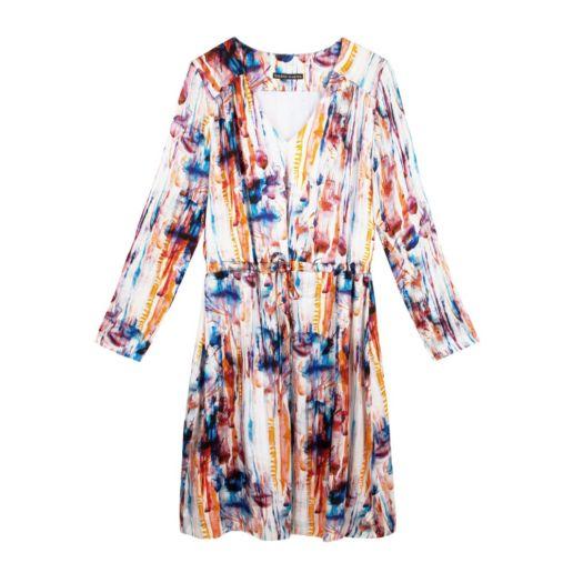 Robe soie colorée imprimé fôret Chic Cocktail Soirée Mariage Créateur SOLENE MARTIN