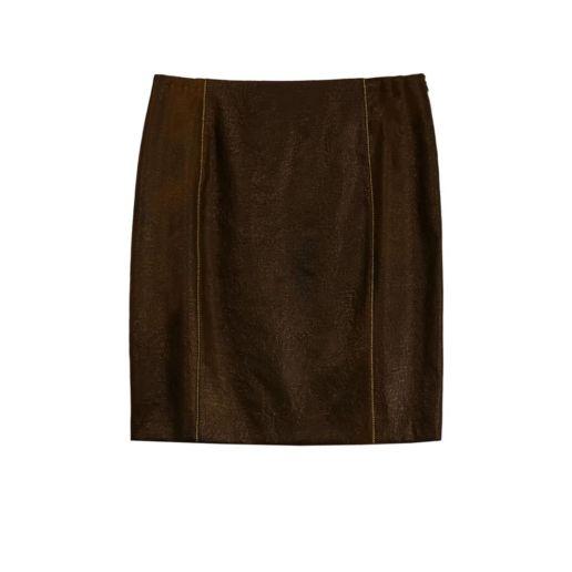 jupe droite laine marron Chic Bureau Diner Cérémonie Créateur SOLENE MARTIN