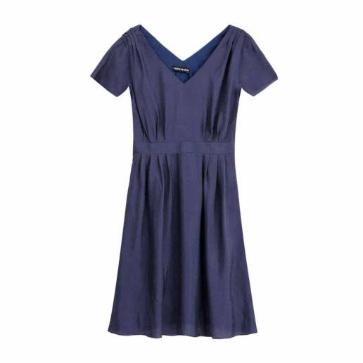robe soie bleue manches courtes Chic Bureau Diner Cérémonie Créateur SOLENE MARTIN