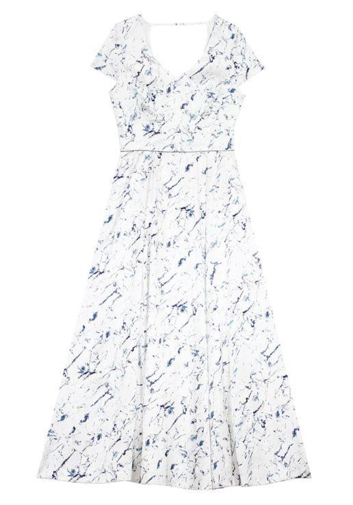 ec8573f309e Robe longue en soie imprimée marbre – FELICIENNE