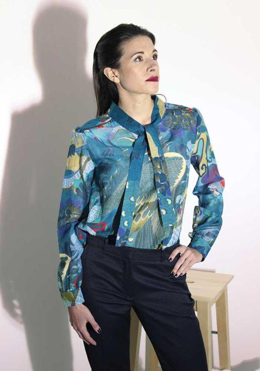 Blouse en voile de soie coton imprimé dragon créateur Paris mode femme SOLENE MARTIN