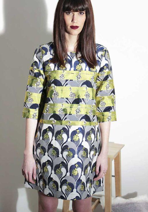 Robe bleue jaune créateur Paris mode femme SOLENE MARTIN