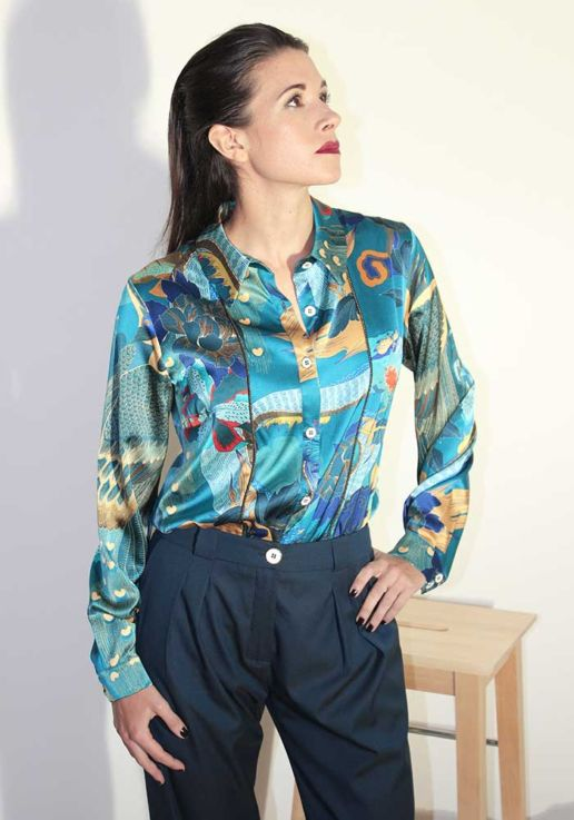 Chemise en soie imprimée dragon créateur Paris mode femme SOLENE MARTIN
