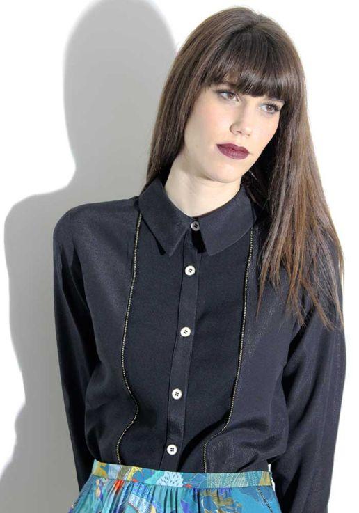 Chemise noire créateur Paris mode femme SOLENE MARTIN