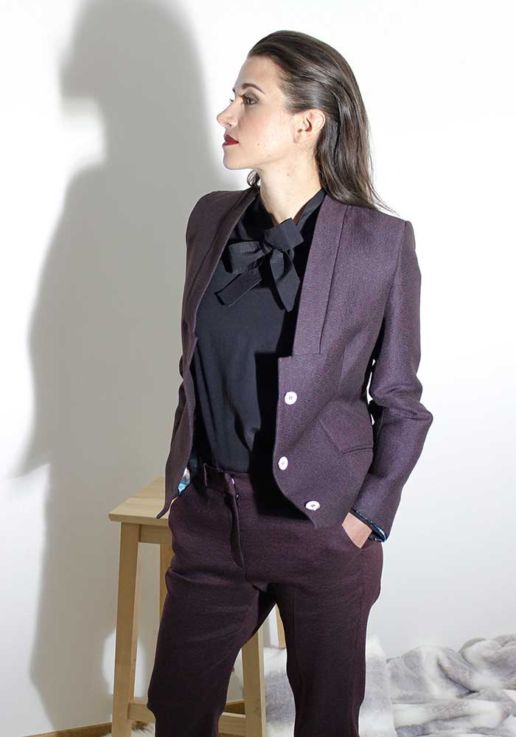 Tailleur veste bordeaux créateur Paris mode femme SOLENE MARTIN