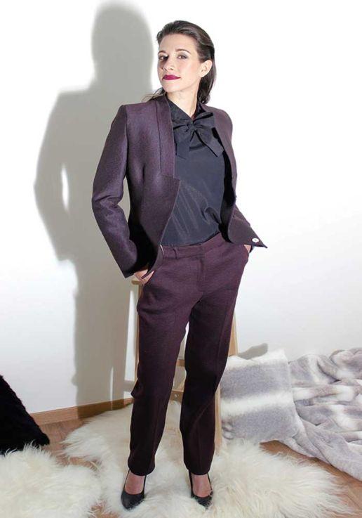 Tailleur veste pantalon bordeaux créateur Paris mode femme SOLENE MARTIN