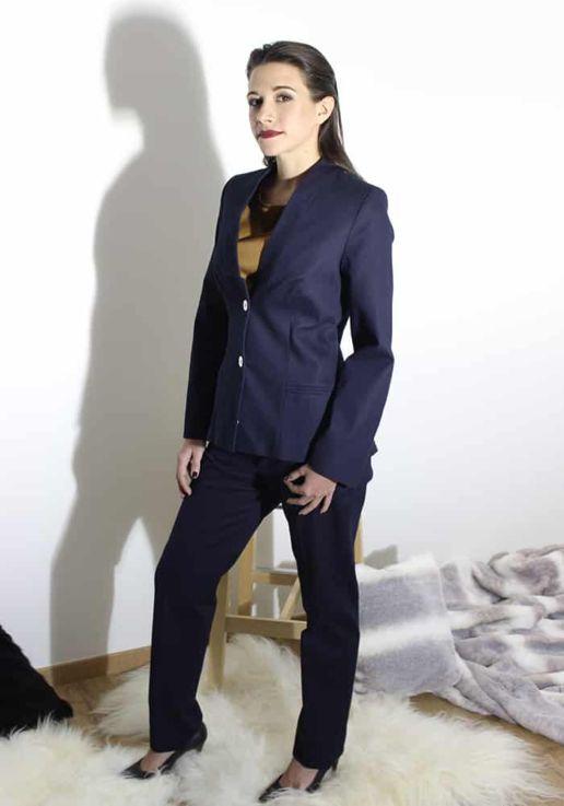 Veste tailleur bleu marine femme SOLENE MARTIN