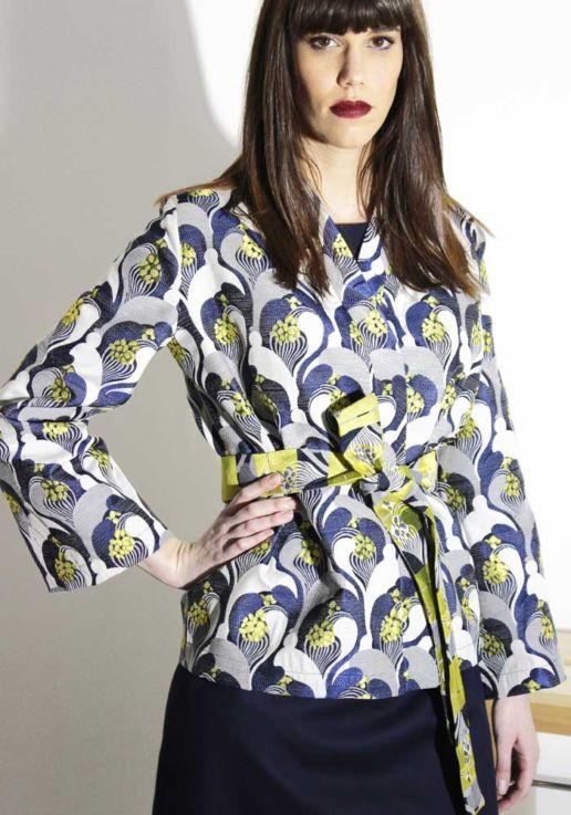 SOLENE MARTIN mode femme veste kimono bleue jaune