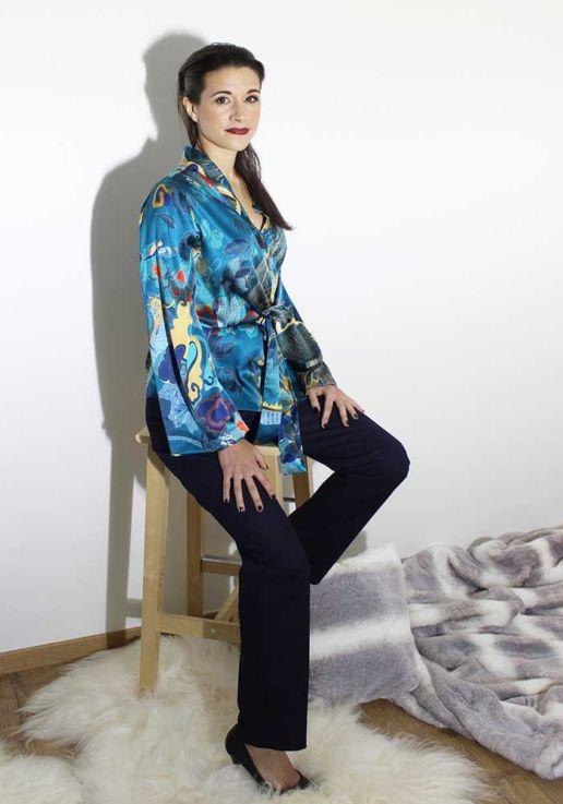 Kimono en soie imprimé dragon créateur Paris mode femme SOLENE MARTIN