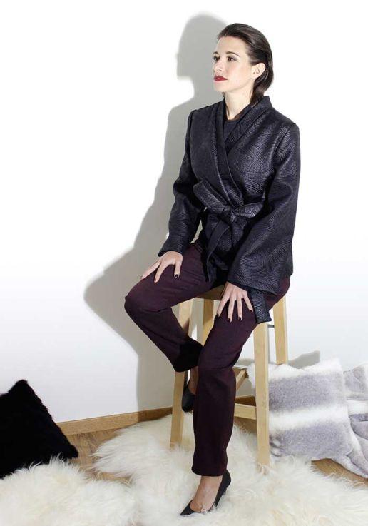 Kimono noir créateur Paris mode femme SOLENE MARTIN