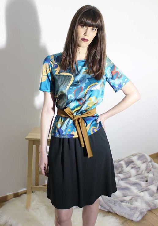 Jupe crepe vert sapin créateur Paris mode femme SOLENE MARTIN