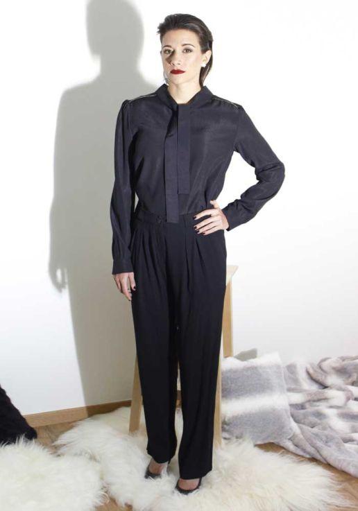 Pantalon noir à pince créateur mode femme Paris SOLENE MARTIN