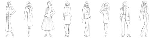 Silhouettes de l'histoire du tailleur dessin SOLENE MARTIN