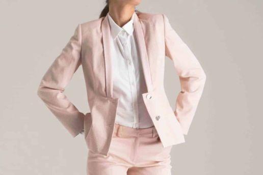 tailleur veste pantalon rose femme SOLENE MARTIN