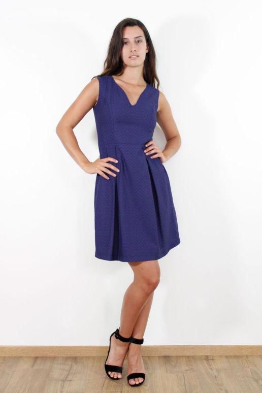 Robe coton bleu pois mode femme createur Paris SOLENE MARTIN
