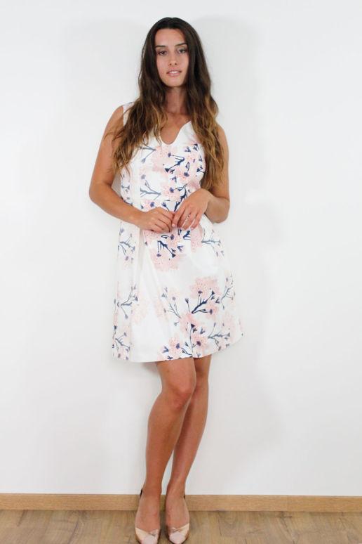 Robe blanche en coton imprimé fleurs cerisier mode femme createur Paris SOLENE MARTIN