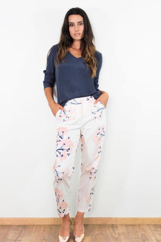 Pantalon droit 7/8ème coton blanc imprimé fleurs mode femme créateur Paris SOLENE MARTIN