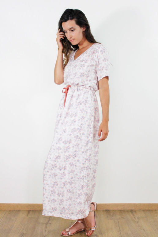 Robe longue en viscose imprimé cerisier mode femme createur Paris SOLENE MARTIN