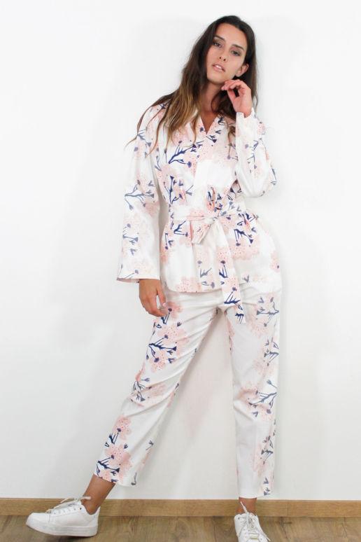 Veste kimono en coton imprimé fleurs cerisier mode femme createur Paris SOLENE MARTIN