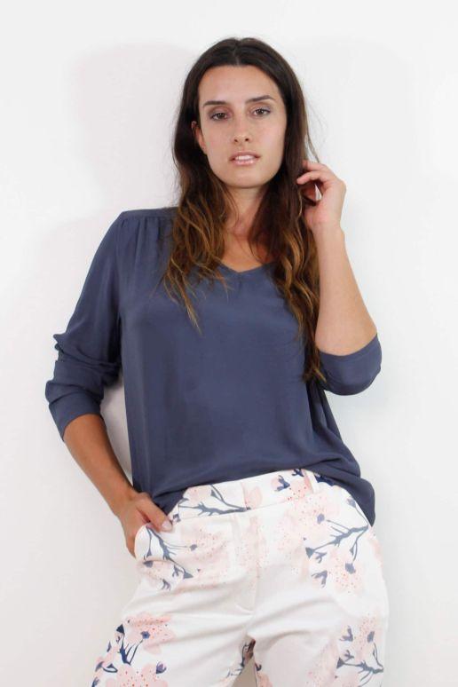 blouse ample bleue en viscose mode femme créateur Paris SOLENE MARTIN