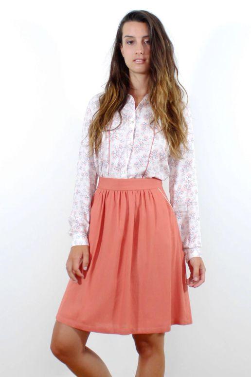 jupe corail en viscose mode femme look createur Paris SOLENE MARTIN