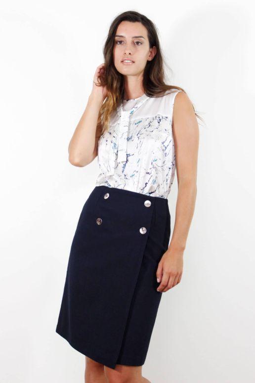 jupe porte-feuille bleu marine en coton mode femme créateur Paris SOLENE MARTIN