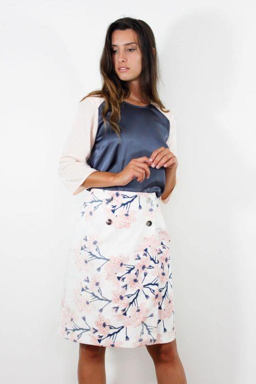 jupe porte feuille coton imprimé mode femme createur Paris SOLENE MARTIN