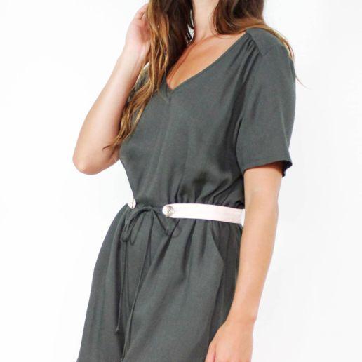 Combishort en viscose vert kaki mode femme createur Paris SOLENE MARTIN
