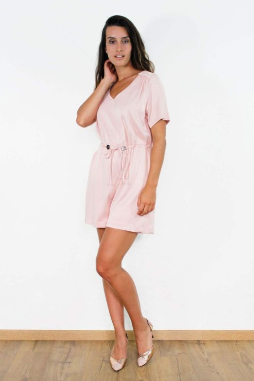 Combishort en viscose rose mode femme createur Paris SOLENE MARTIN