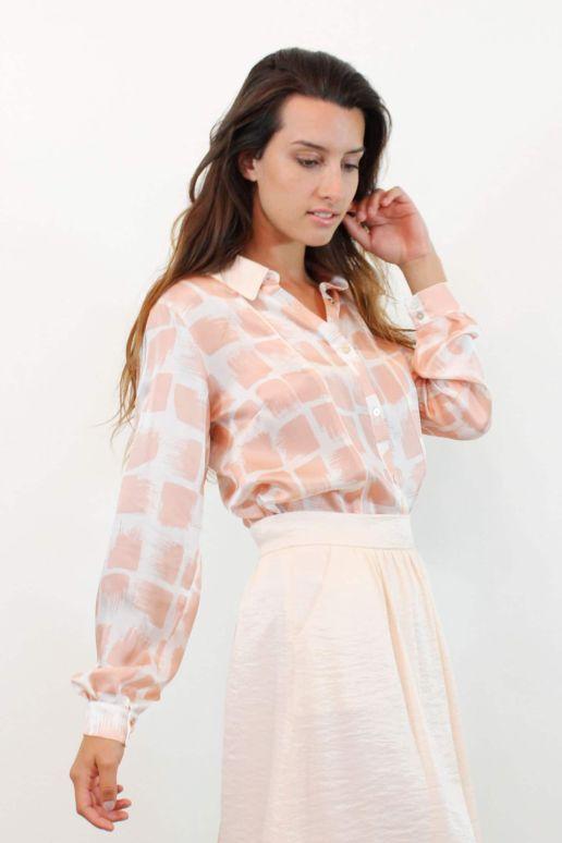 chemise en soie imprimé rose mode femme créateur Paris