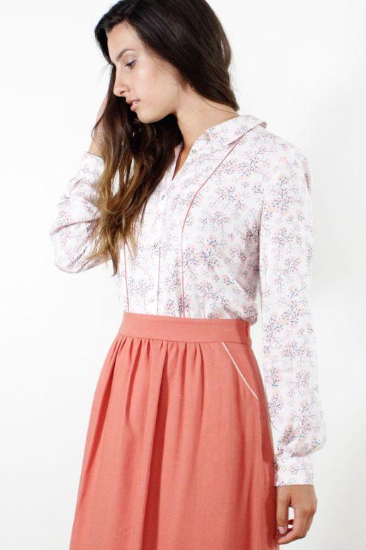 chemise droite en viscose imprimé fleurs mode femme look createur Paris SOLENE MARTIN
