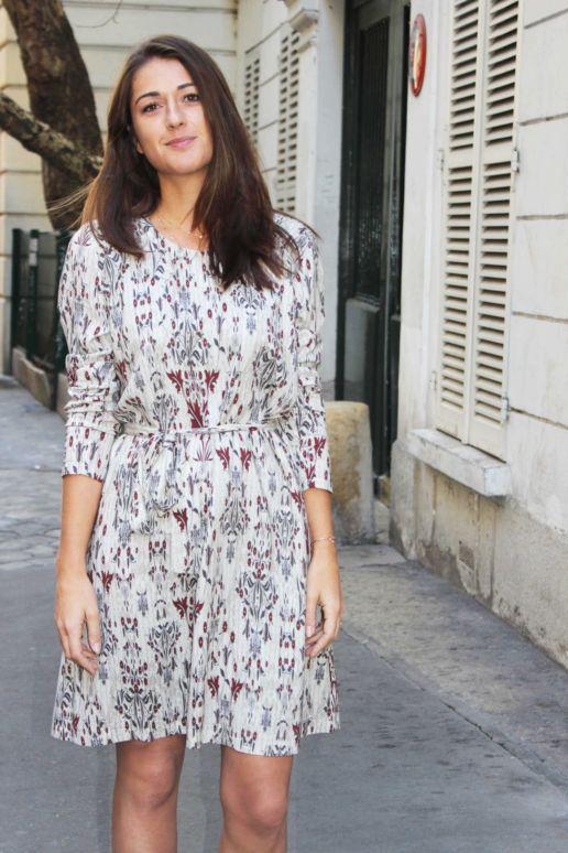 Robe droite en viscose imprimée fleurs mode créateur femme Paris